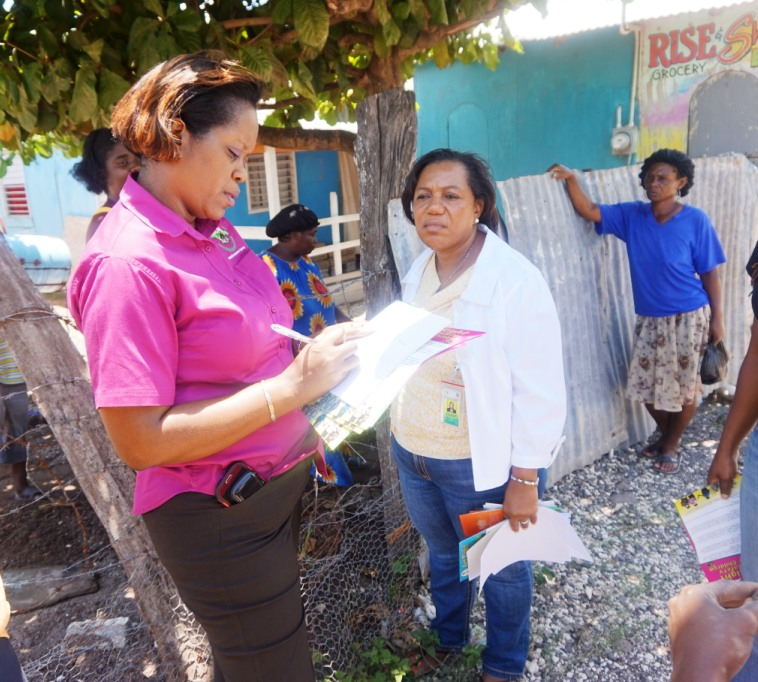 CEO of the Child Development Agency Rosalee Gage-Grey and Team Leader for Clarendon Francine Rhoomes and other Officers carried out a child protection sensitisation tour of the Havannah Heights community in Clarendon yesterday.  (April 16).   They were joined on the walk by members of the Havannah Heights Police Youth Club.