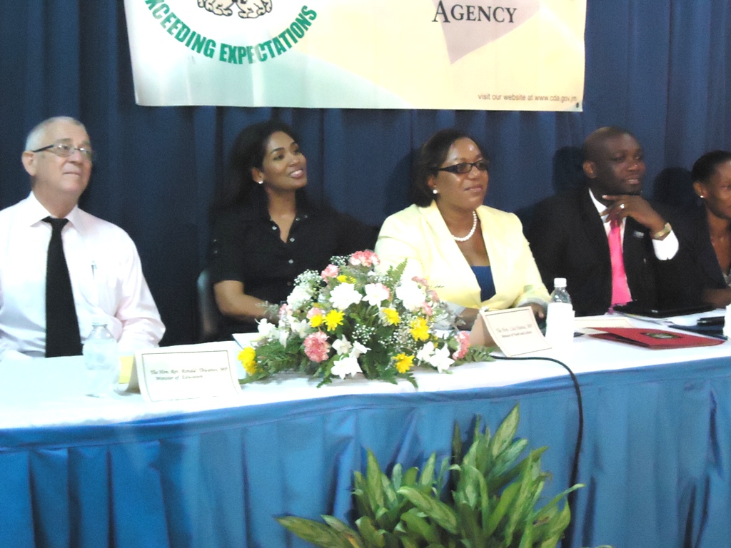 "Officials attending the Agency's Every Child is My Child Community Forum and Expo held at the Allman Town Primary School in Central Kingston recently. The event was held under the theme, ""Parenting for Positive Change in Jamaica"".  L-R – Minister of Education the Hon. Rev. Ronald Thwaites; Minister of Youth and Culture the Hon. Lisa Hanna; Acting CEO of the Child Development Agency  Rosalee Gage-Grey, and Registrar of the Office of the Children's Registry Grieg Smith."